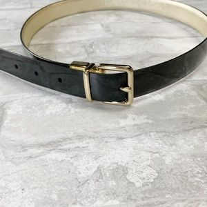 Cole Haan black gold leather reversible belt small
